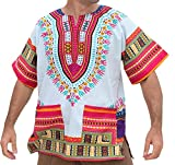 RaanPahMuang Brand Unisex Bright African White Dashiki Cotton Shirt #59 Light Pink X-Large