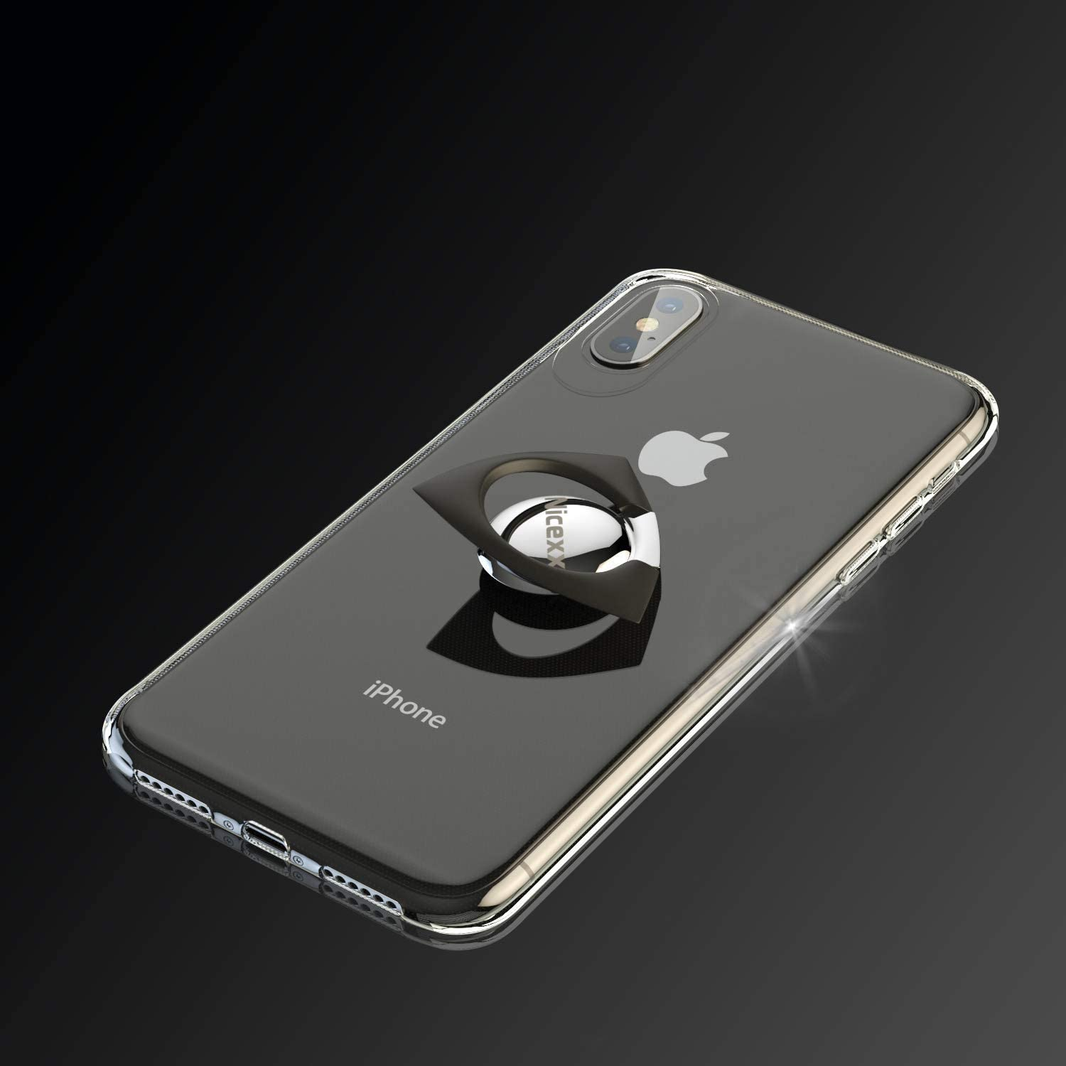 iPhone X Case   iPhone Xs Case   Transparent Soft TPU Case   Kickstand & Finger Ring   Built in Fidget Spinner   Compatible with Apple iPhone X/iPhone Xs