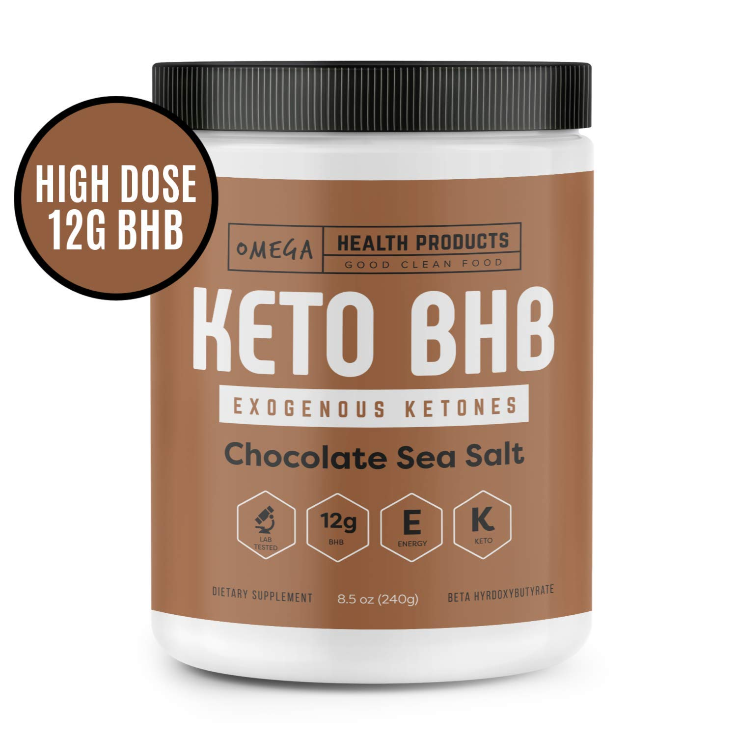 Omega Keto BHB Exogenous Ketones - Chocolate Sea Salt - High Dose Base goBHB Salt Powder | Perfect for Supporting Energy, Mental Focus, Ketosis | Great for Ketogenic Diet (16 Servings)
