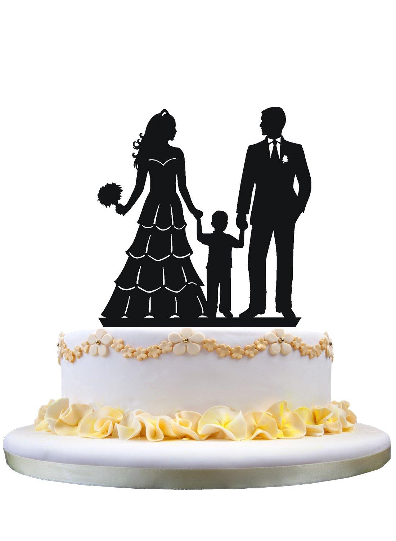 coppia con torta di piccoli ragazzo Torta di matrimonio torta