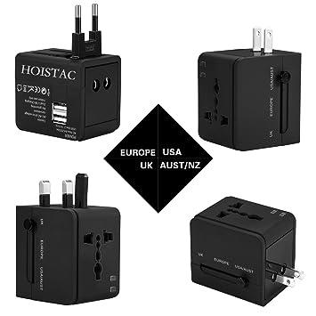 Adaptador de Viaje, Cargador de Pared con Doble Puerto de Carga USB y convertidor de enchufes Universal Valido para USA, EU, UK, AUS (Negro)