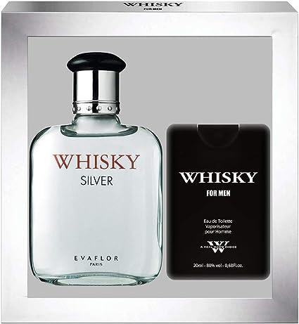 EVAFLORPARIS Whisky Silver – Estuche regalo Eau de Toilette 100 ml + perfume de viaje vaporizador para hombre 20 ml: Amazon.es: Belleza