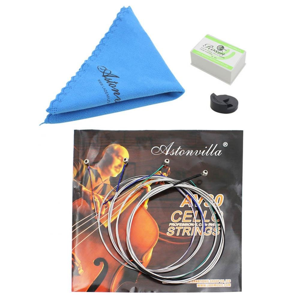 Cello Instrument Accessory Set tools 4 in 1 Strings Set Clean Cloth Practice Mute Rosin