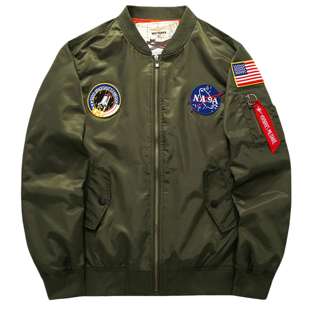 ROSEUNION Mens Cotton Spring Autumn Winter Classic Military Bomber Jackets Air Force Coat Outdoor Tops Plus Big Size