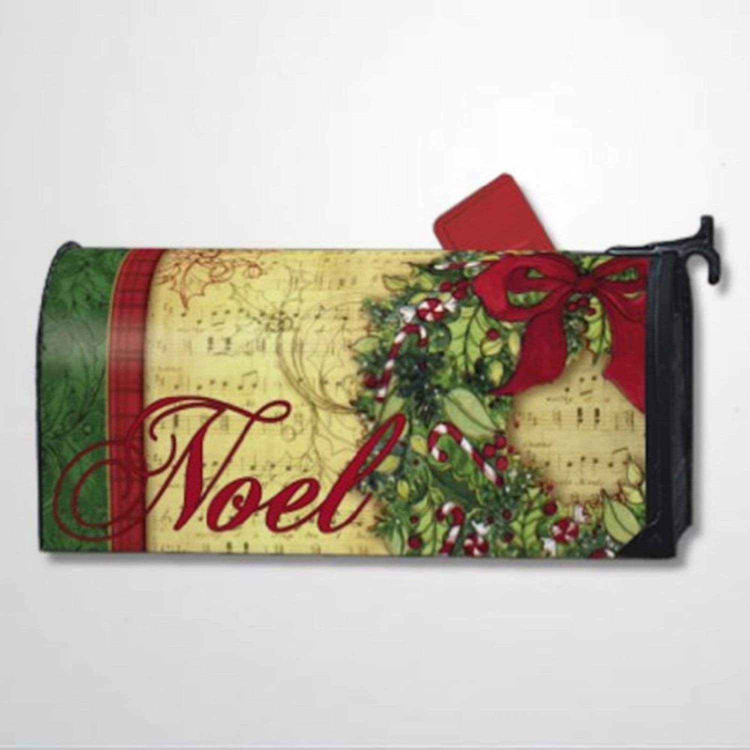 BYRON HOYLE Noel Retro Christmas Decor Mailbox Covers Magnetic Mailbox Wraps Post Letter Box Cover Home Garden Yard Outdoor Decor
