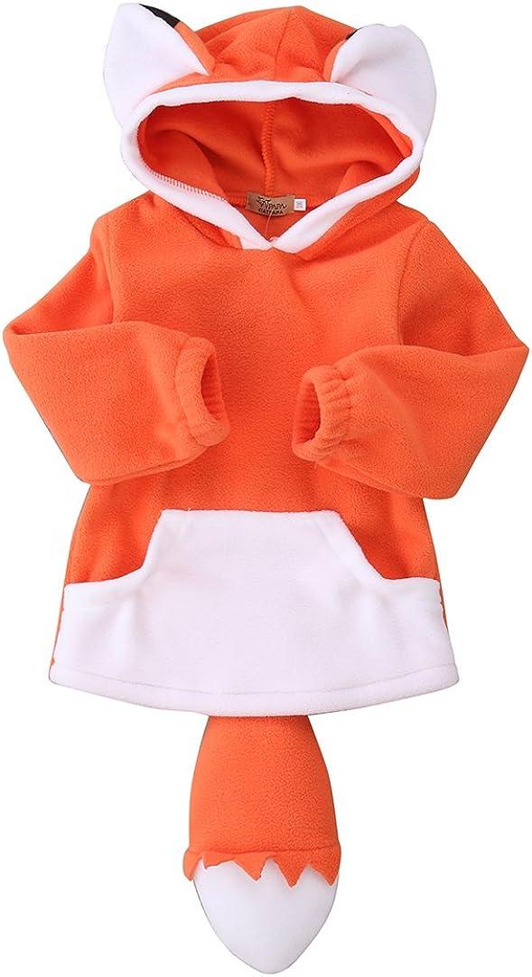 Fboards Baby Kids Boys Girls Cute Fox Hooded Cape Cloak Hoodie Coat Outwear