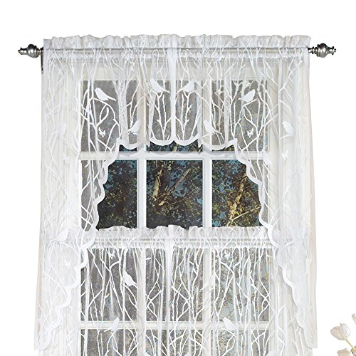 Swags Treatments Window (Collections Etc Lace Window Café Curtain Swags with Songbirds & Branches, White)