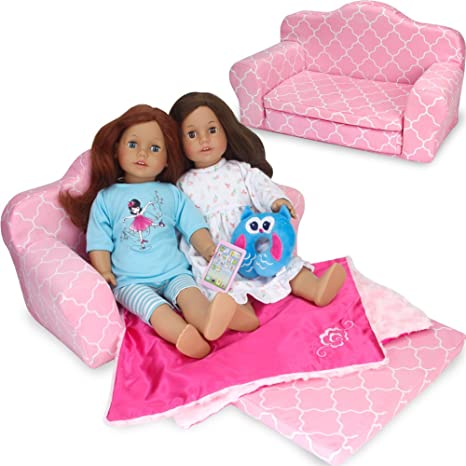 Amazoncom Sophias 2 In 1 Pink Doll Furniture Pull Out Sofa Bed