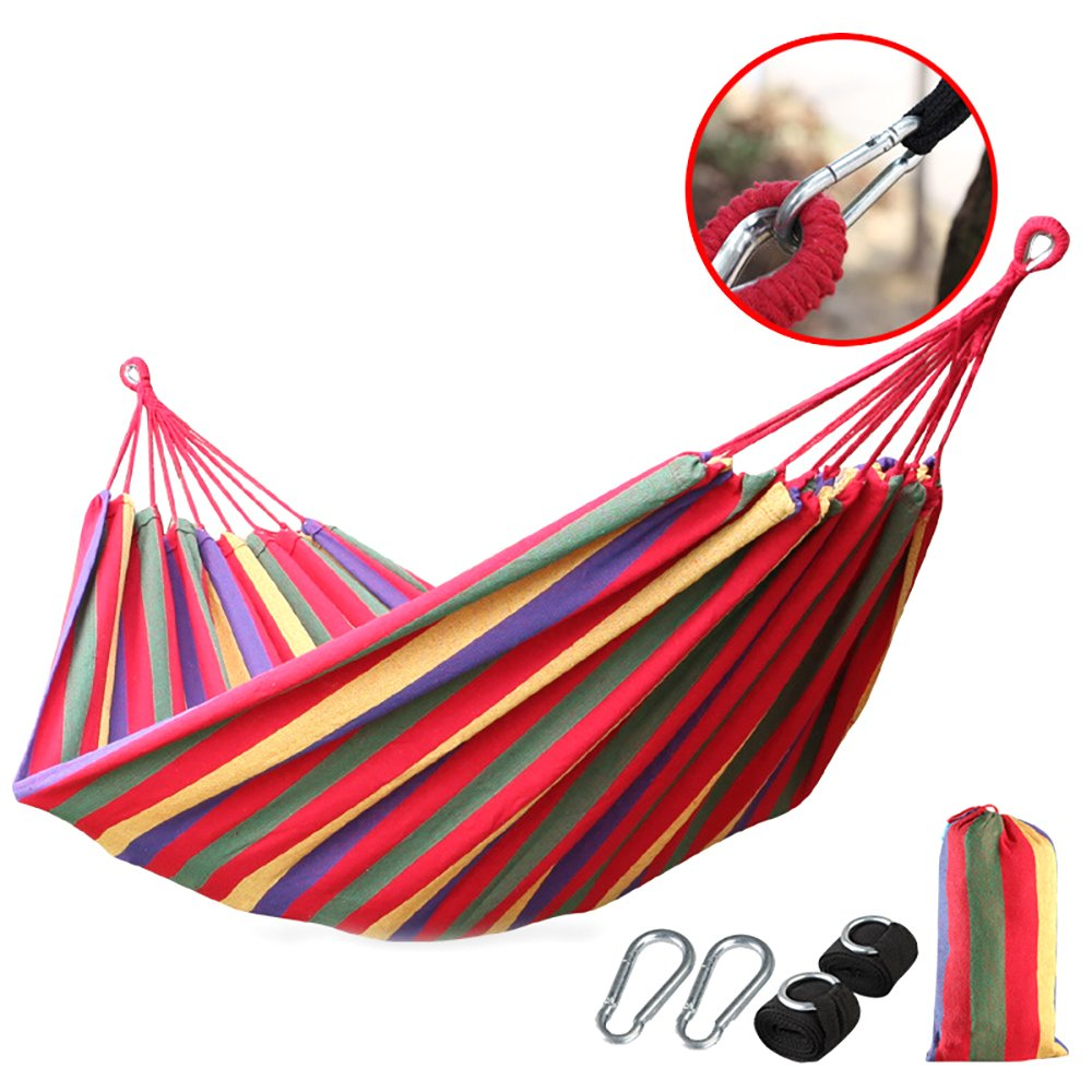 Camping Hammock Lightweight with Tree Straps For Backpacking, Camping, Travel, Beach, Garden (Rainbow)