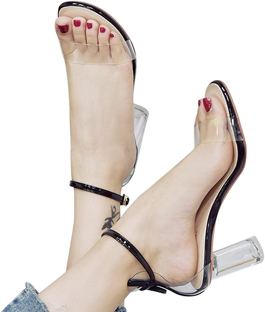 Heeled Sandals for Women,WEUIE Open Toe Ankle Strap Clear Chunky Block High Heel Dress Party Pump Sandal