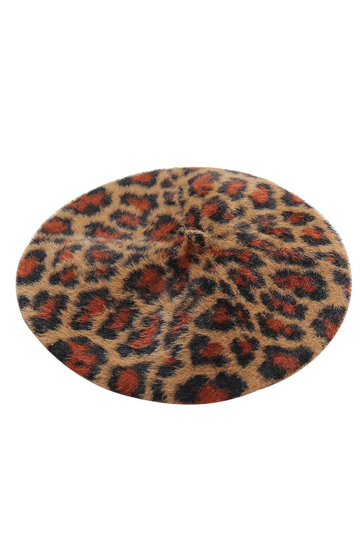 Suvimuga B/éret Chapeau L/éopard Vintage Hiver Chapeau Chaud pour Les Femmes Dames Filles
