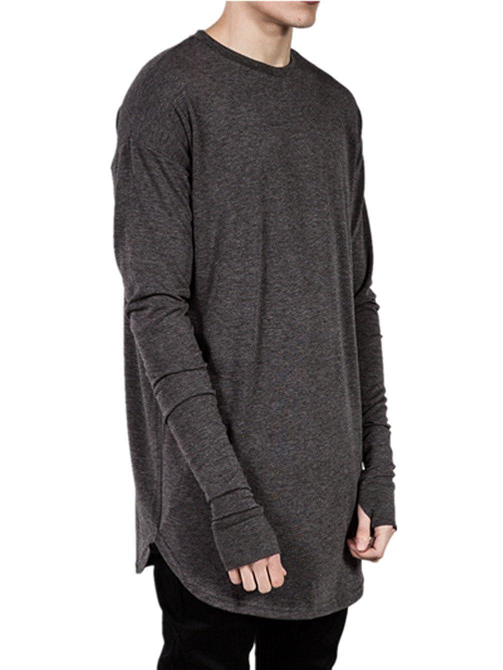 Q& Y Men's Cotton Thumb Hole Cuffs Long Sleeve T-Shirt Basic Tee