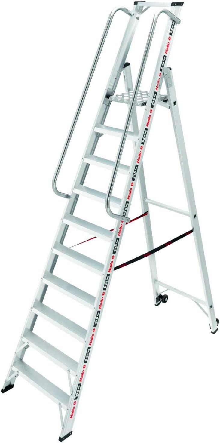 mit Ablageschale, Handlauf und gro/ßer Plattform, 10 Stufen, belastbar bis 225 kg Hailo ChampionsLine P225 plus Alu-Profi-Plattformleiter 8210-101