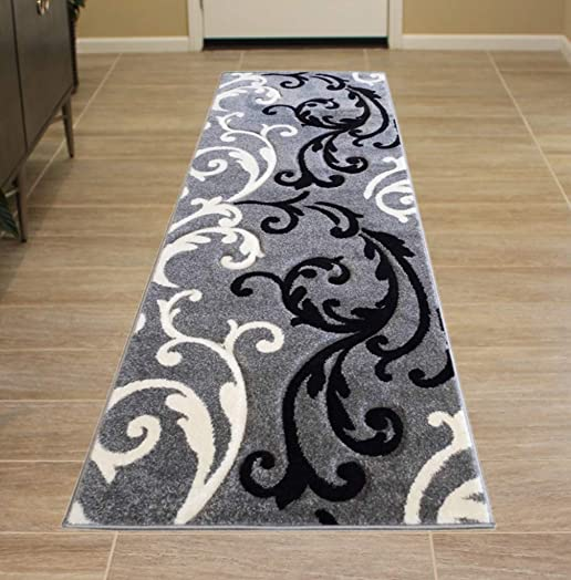 Modern Runner Area Rug Design Hollywood 290 Grey 31 Inch X 7 Feet