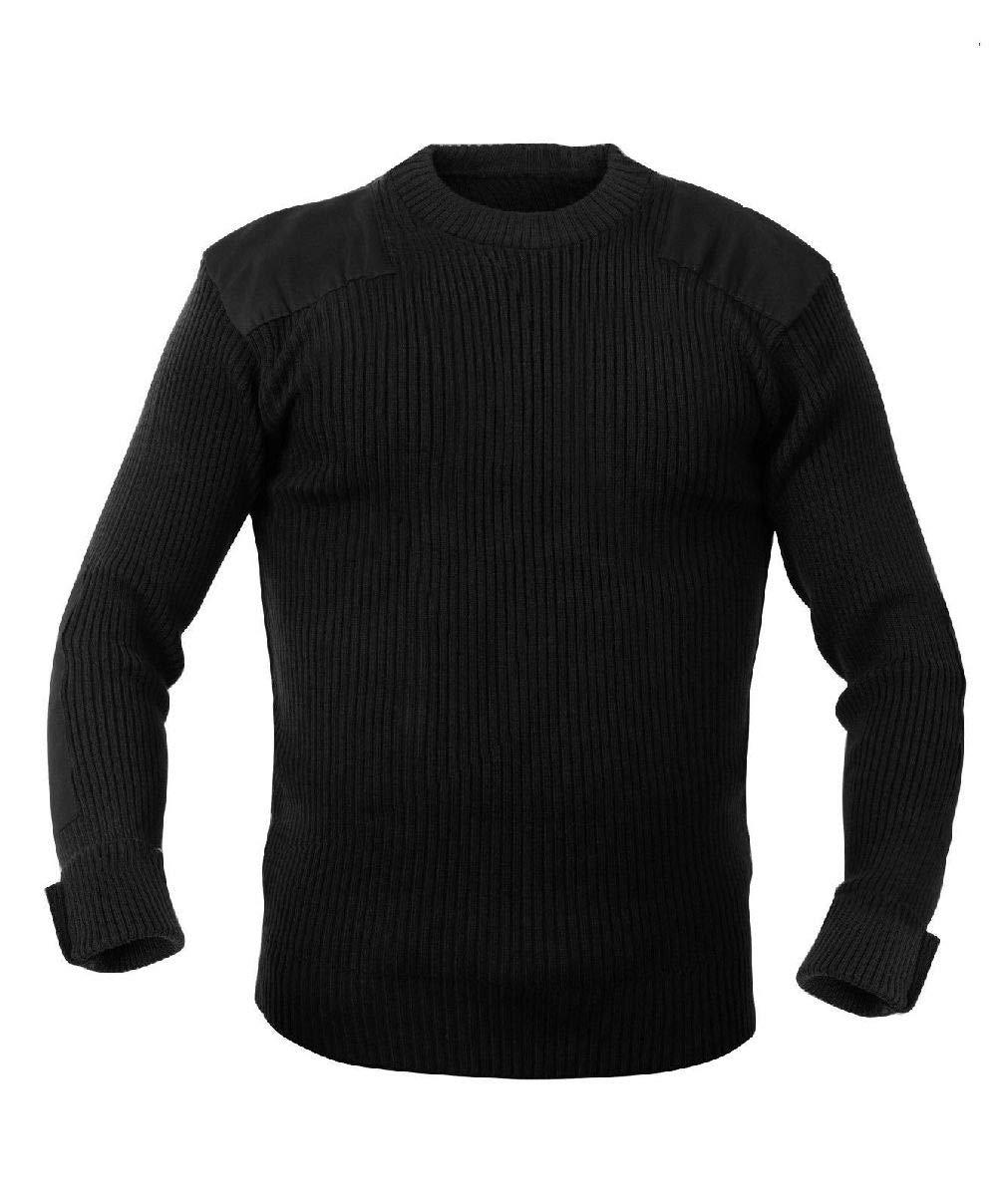 New Black Military Style Acrylic Tactical Commando Crewneck Sweater
