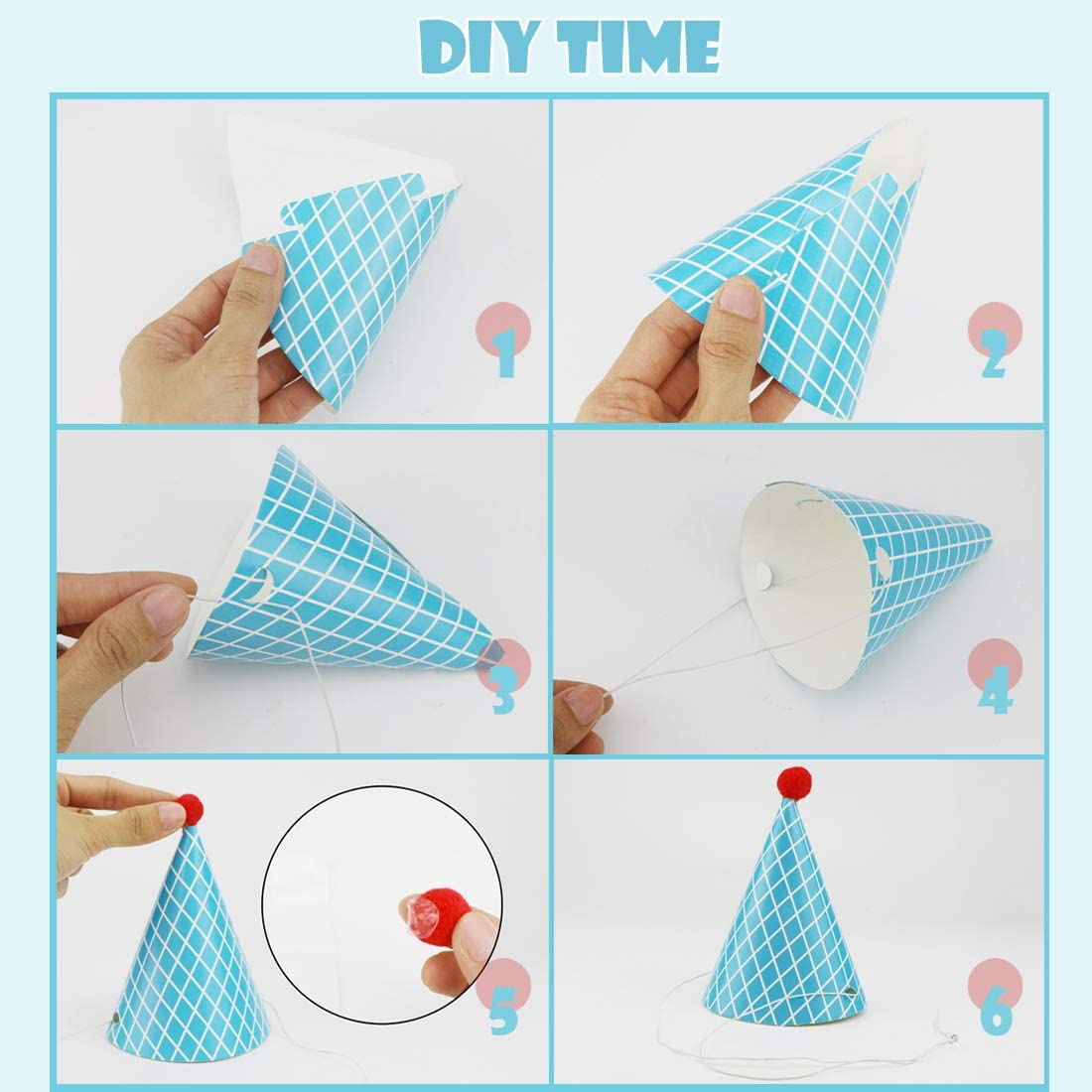 Cefanty Party Hats 11 Pack Fun Cone Party Hats for Kids or Adults: Toys & Games