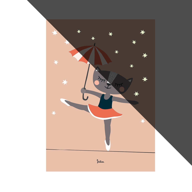 Julica Design Nachtleuchtende Bilder fürs Kinderzimmer | Poster | Wand-Bild für Baby-Zimmer | Ballerina Katze | 50 x 70 cm JulicaDesign 100737