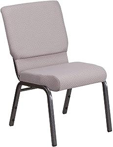 Flash Furniture HERCULES Series 18.5''W Stacking Church Chair in Gray Dot Fabric - Silver Vein Frame