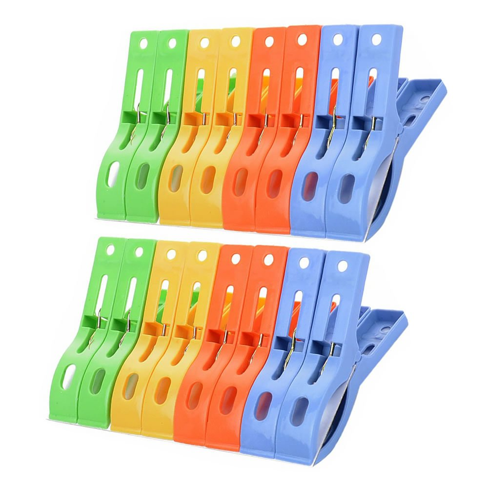 TXIN Set of 16 Durable Plastic Beach Towel Pegs Clips Clothespins Clamp Large Clips - 4 Colors
