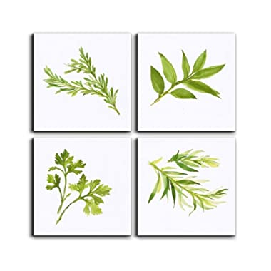 Canvas Painting Print Wall Art 4 Panels Simply Life Green Plant Leaf Modern Contemporary Painting on Canvas Set Prints Framed Nature Abstract Art Pictures for Living Room  Wall Artwork  Decorations