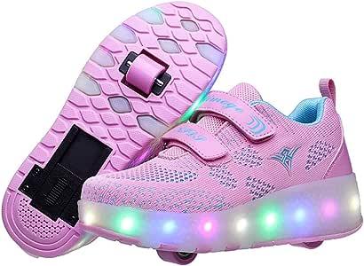 Unisex Led Luz Automática de Skate Zapatillas USB Cargando Zapatos Patines Deporte Gimnasia Running Zapatillas con Ruedas Zapatillas con Dos Ruedas36 EU: Amazon.es: Hogar