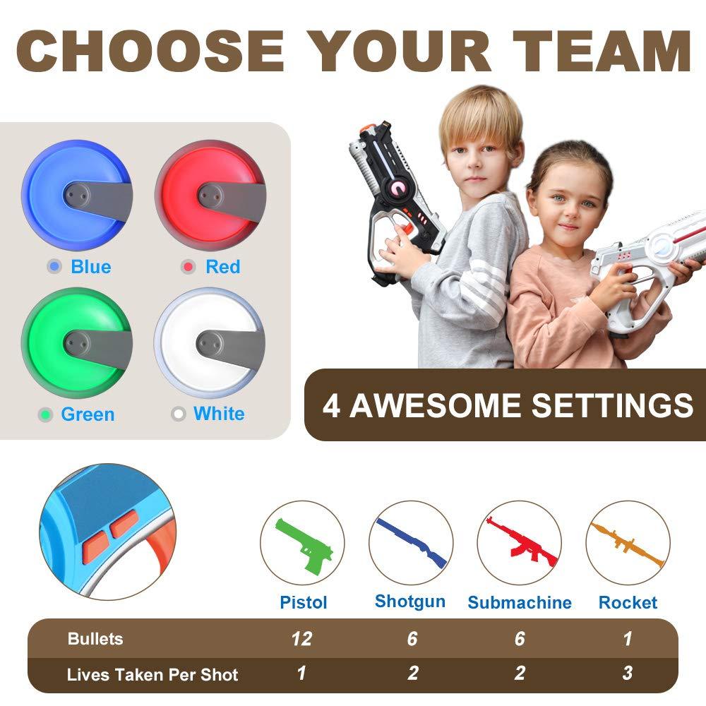 Veken Laser Tag Set with 4 Pack Infrared Laser Tag Guns 2 Robot Bug 1 Carrying Case for Kids Multiplayer Indoor Outdoor Game - Infrared 0.9Mw by Veken (Image #3)