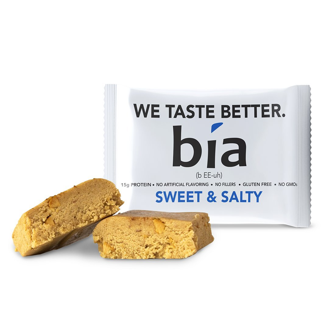 Bia Bar, Protein Bar, Non-GMO, Naturally Sweetened with Honey, Fiber, Meal Replacement, Protein Fudge, Simple Ingredients (55g Bar) (12 Bars, Sweet & Salty) by Bia