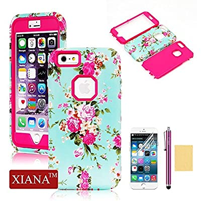 iPhone 6 Plus Case, XIANA Newly Cool Durable PC+TPU Hybrid Waterproof Shockproof Slim Back Protective Case Cover Suitable For Apple iPhone 6 Plus(5.5)(Orchid Flowers Pattern) with Stylus, Screen Protector and Cleaning Cloth-(Black)