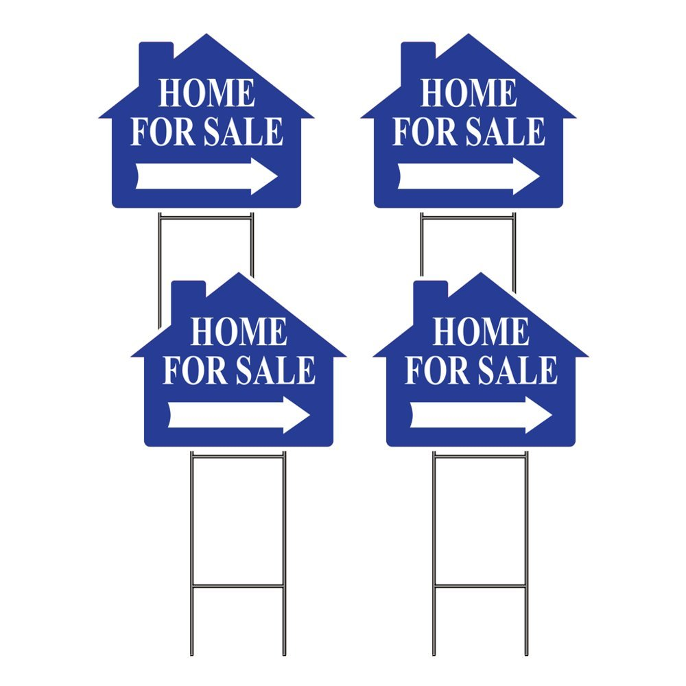 HOME FOR SALE SIGN WITH FRAME - OPEN HOUSE - RED or BLUE - SET OF 4 (Blue)