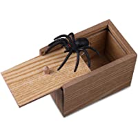 TEEPAO Scare Surprise Box with Spider Hilarious Scare Box Spider Prank Wooden Scarebox Joke Prank Box April Fools' Day Gag Gift Prank for Boys, Girls, Adults