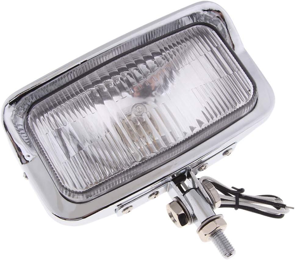Chrome non-brand Phare 12V Universal Moto Assembl/ée Rectangle Lampe Frontale 55W