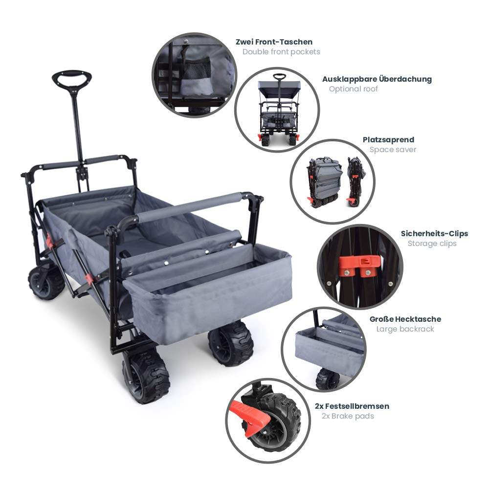 """LOMOS /""""Allrounder/"""" trolley collapsible with roof and large tires in blue"""
