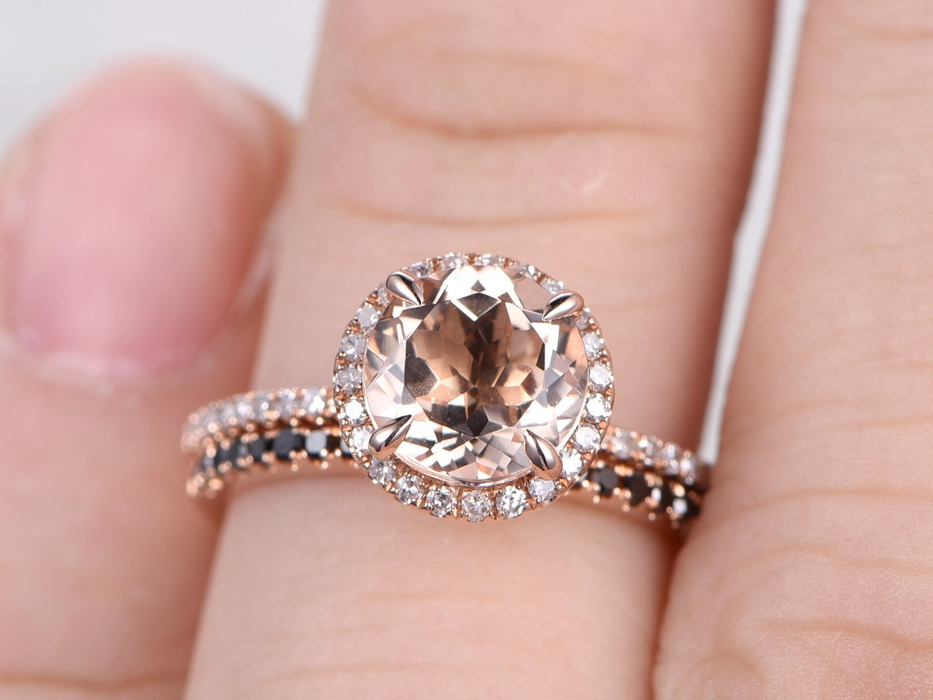 Amazon.com: 7mm Round Cut Natural Peach Pink Morganite Stone Halo ...