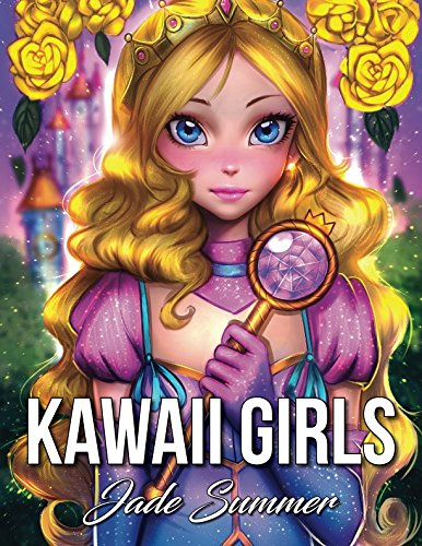 Kawaii Girls: An Adult Coloring Book with Adorable Anime Portraits, Cute Fantasy Women, and Fun Fashion Designs (Relaxation -