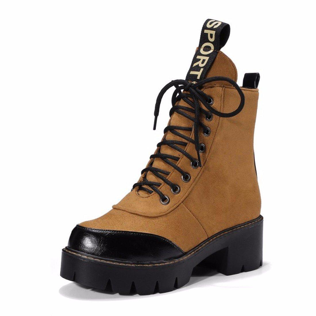 Otoño e Invierno ocio Martin botas, grandes soles, grandes patios, encajes ups y botas cortas,amarillo,38 US7.5 / EU38 / UK5.5 / CN38