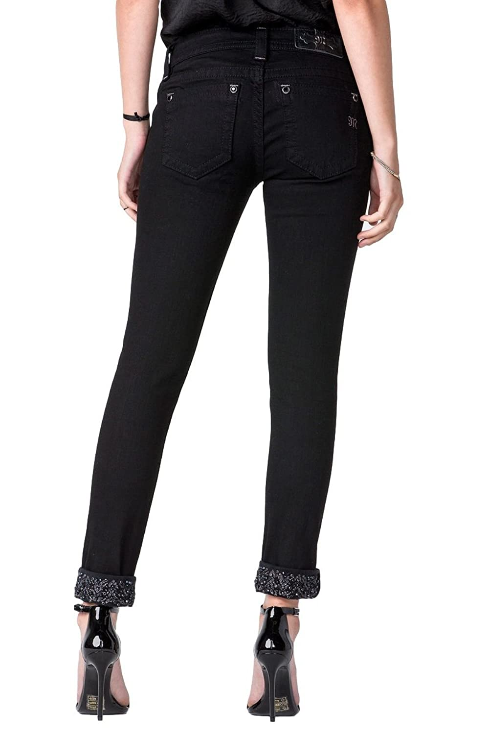 Miss Me Jeans Women's Exteded Sizes Modern Mix Ankle Skinny Sequin Cuffed Black