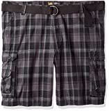LEE Men's Big and Tall New Belted Wyoming Cargo Short, Black Clifton Plaid, 46