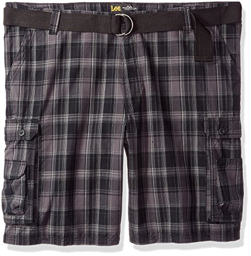 - Lee Men's Big and Tall New Belted Wyoming Cargo Short, Black Clifton Plaid, 48