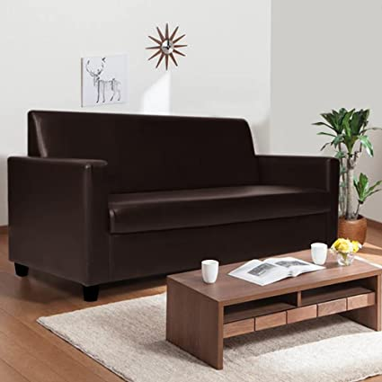 Astounding Furny Dublin Three Seater Leatherette Sofa Brown Andrewgaddart Wooden Chair Designs For Living Room Andrewgaddartcom