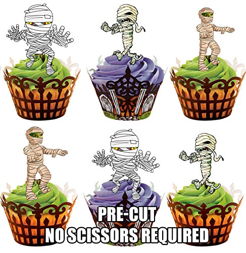 AKGifts Halloween Mummies, 12 Cup Cake Toppers, Edible Stand Up Decorations (7 - 10 BUSINESS DAYS DELIVERY FROM UK) (Halloween Cupcake Decorations Edible)
