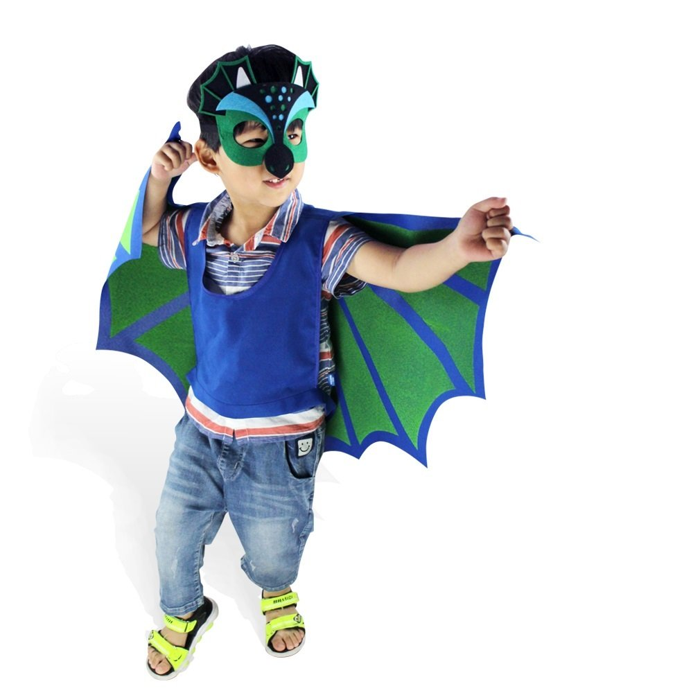 Yuanyisyle Child Cape Mask Party Decoration Masque Costume Halloween Kids Gift (Pterosauria-Style)
