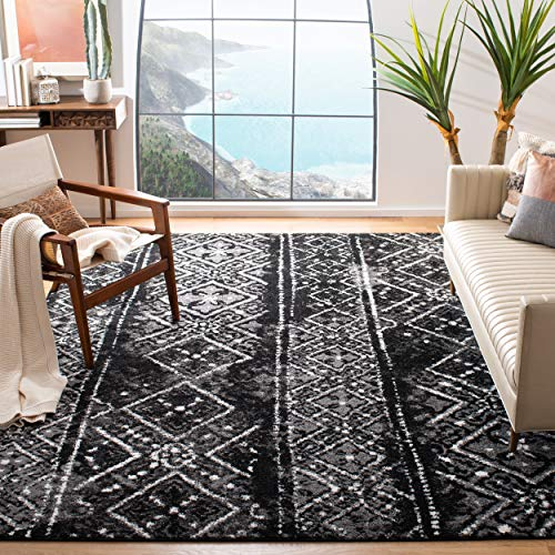 Safavieh Adirondack Collection ADR111C Black and Silver Contemporary Bohemian Distressed Area Rug 6 x 9