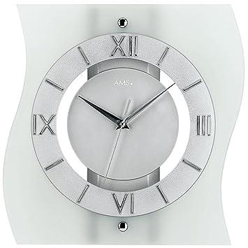 AMS Glas Funk Wanduhr Modern, Analoge Designer Uhr Mit Römischen Ziffern  Unter Einer