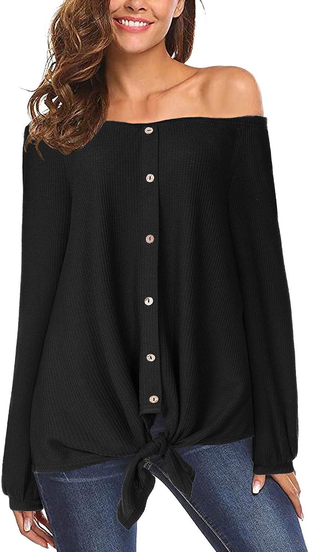 Yoins - Camiseta para mujer, de verano, de corte suelto, manga corta, blusa con hombros descubiertos, mangas de murciélago, con botón Negro XL
