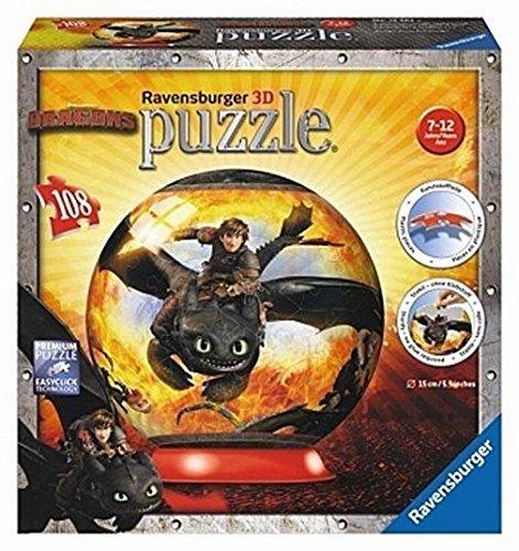 Ravensburger 12262 - Dragons - Drachenzähmen leicht gemacht, 108 Teile 3D Puzzle-Ball