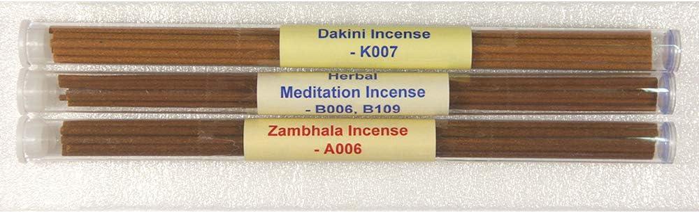 - 8 Stick Incense 100/% Natural -TItube102 3 Tubes Tibetan Incense Pack#2 - Dakini Incense+Herbal Meditation Incense+Zambhala Incense