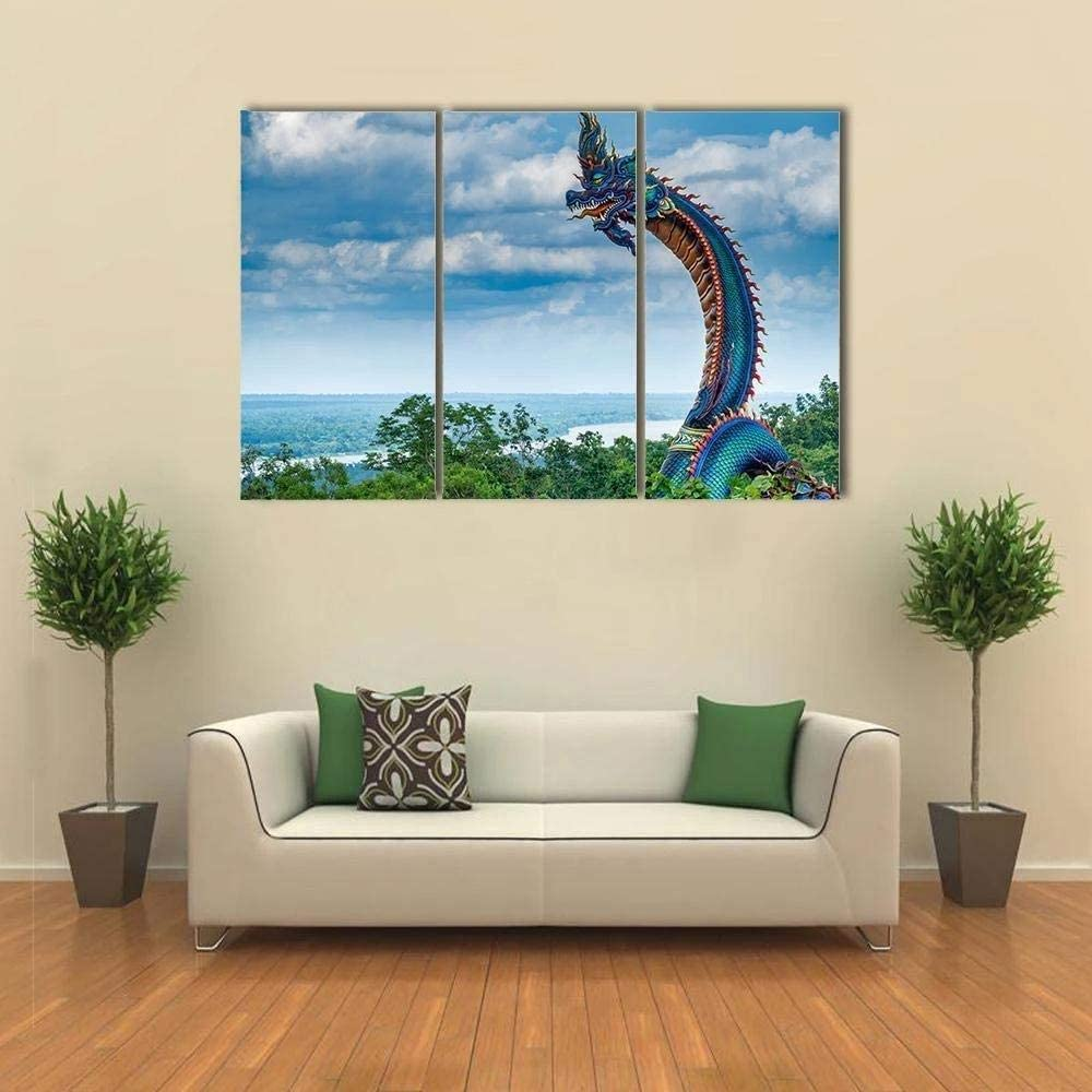 IOIP Wall Art 3 Pieces Framed Art Wall Decor Giant Thai naga Statue for Home Decor Living Room Bedroom Office Stretched and Framed Ready to Hang