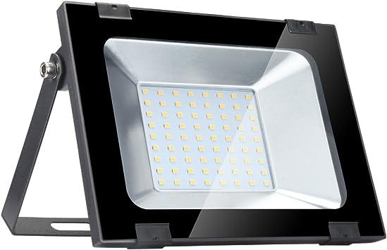 Yuanline Focos LED Exterior de Blanco Cálido 50W 5000LM, 2800-3200k, Ultrafino y Ultraligero para Jardín, Garaje, Patio, Estadio, Fábrica, Almacén, Cuadrado Resistente al Agua IP65: Amazon.es: Bricolaje y herramientas