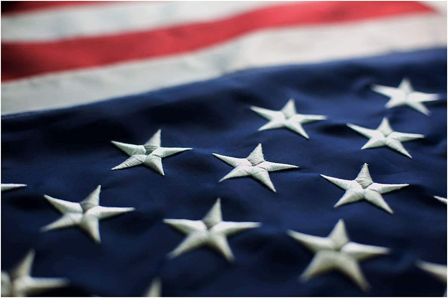 AMERICAN FLAG FBNC, Durable Polyester, Embroidered WHITE Stars and BRASS Grommets, STRENGTHENED by Double Stitching