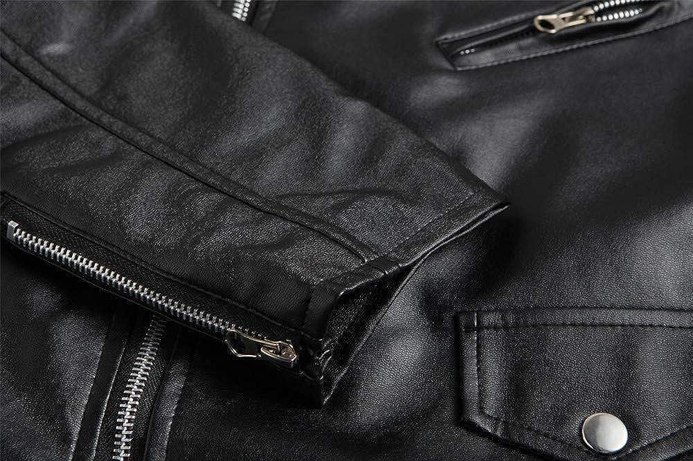 MISSMAOM Retro Morbido Giacca Motociclista in Pelle Sintetica Biker Jacket Cappotto con Cintura